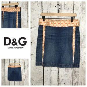 Dolce & Gabbana denim and orange tweed skirt